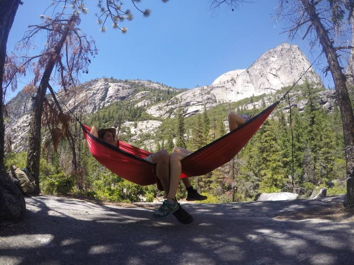 Joseph and I taking a pitstop hammock break at the Top of Bridalveil Falls before heading up to the Nevada falls.